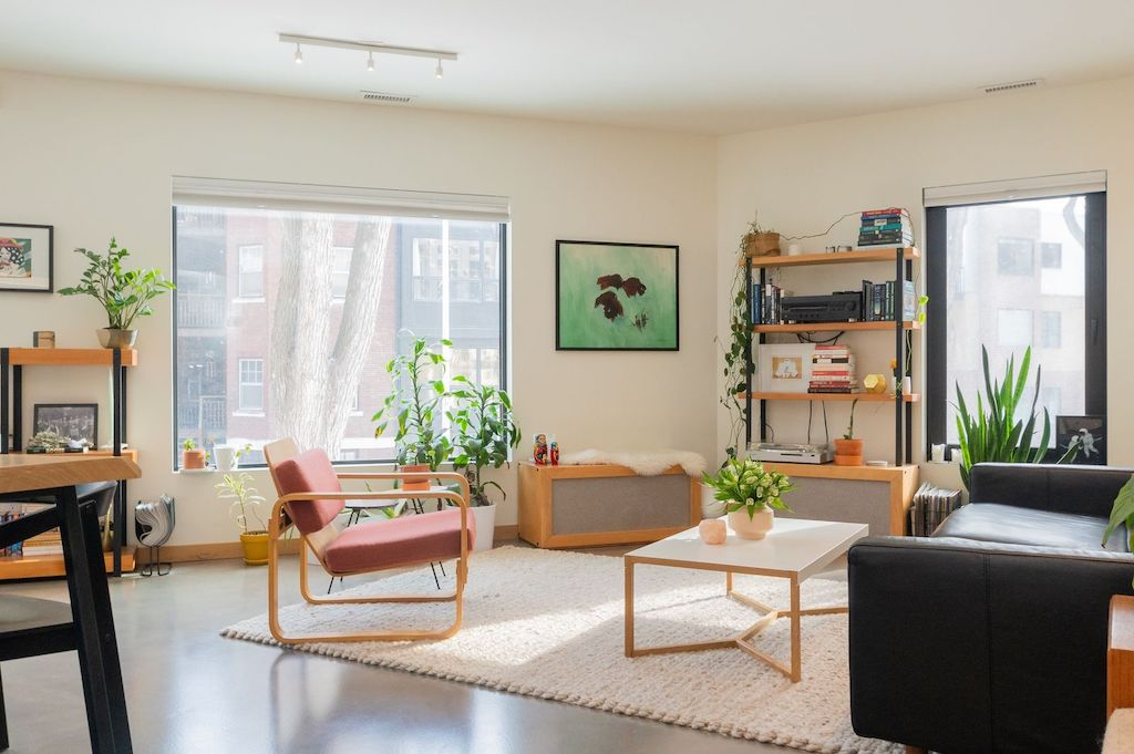 Light-filled, minimalist design interior living room