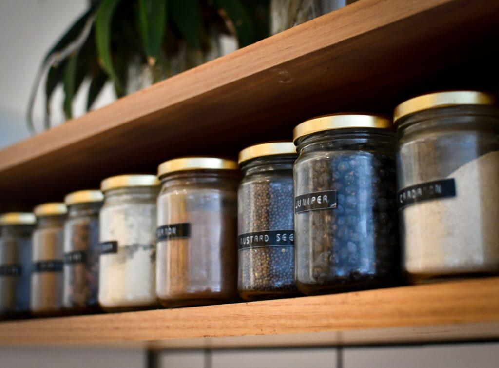 Organised and tidy zero waste kitchen pantry jars