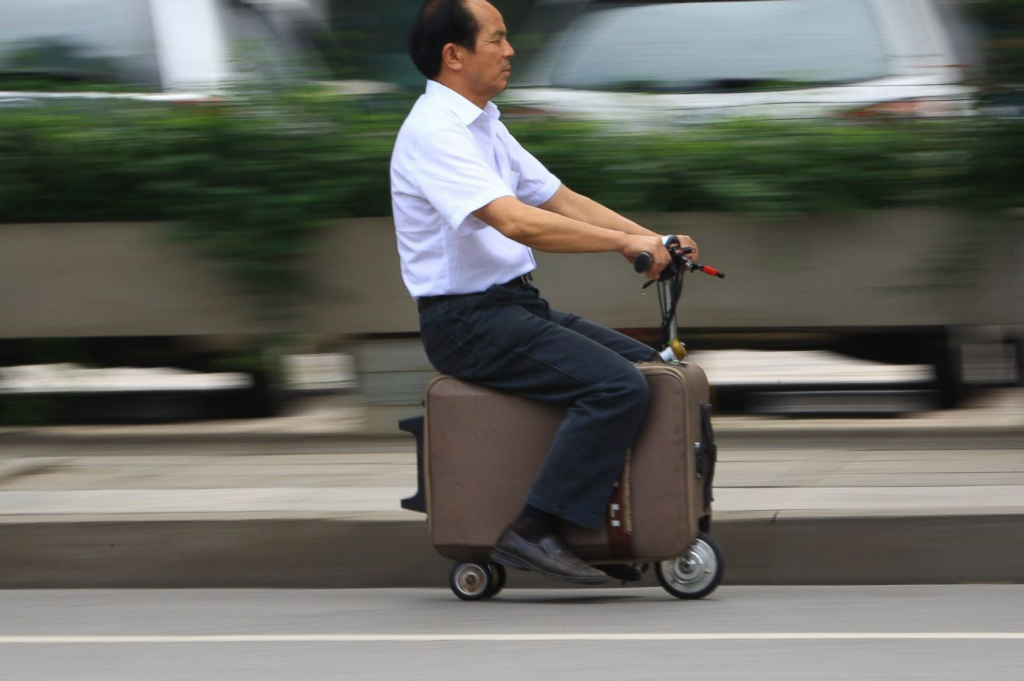 Man rides travelling storage as a solution for long-term travel storage